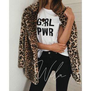 Leopard print teddy peacoat jacket outerwear fur
